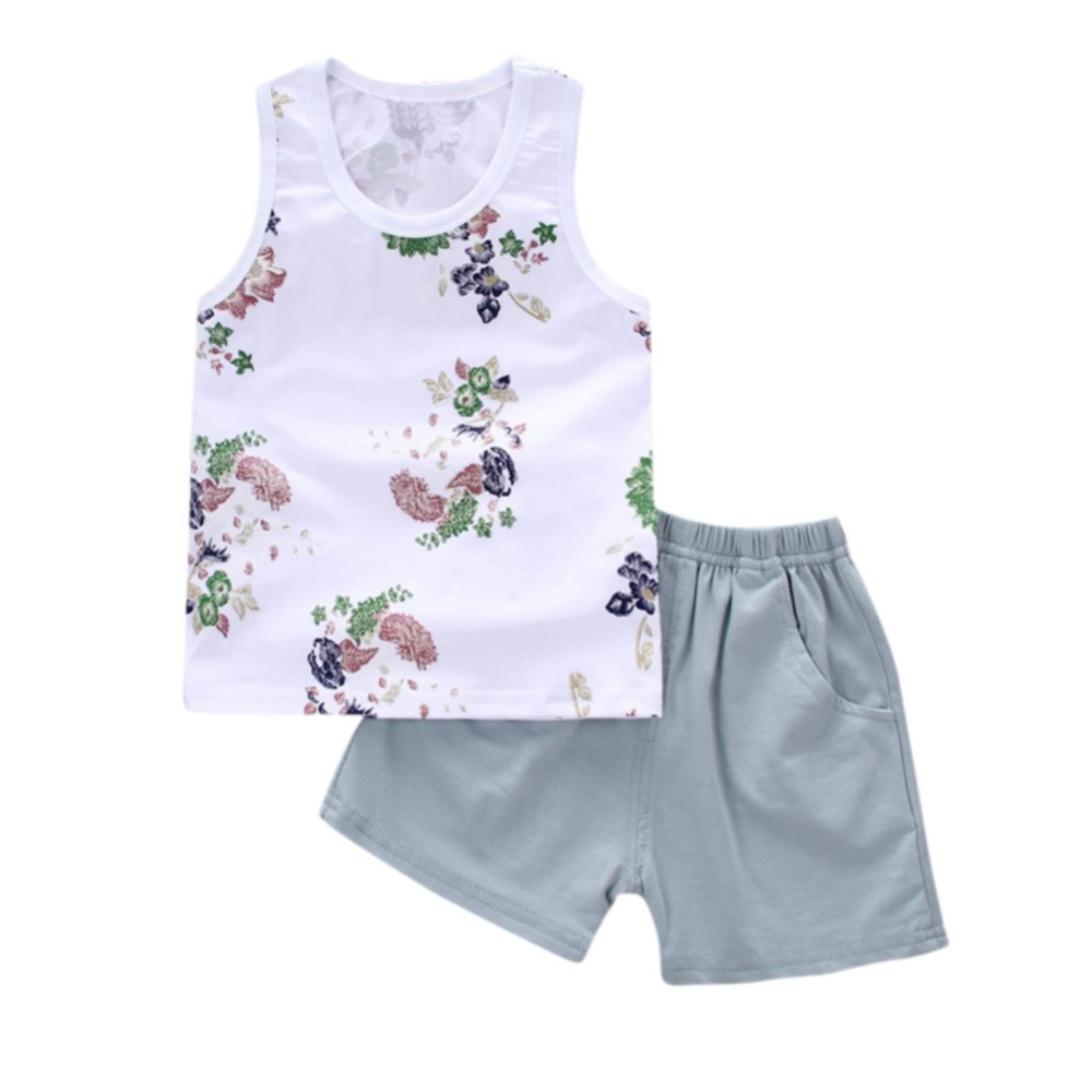 2Pcs Baby Clothing Suits Children Boys Girls Summer Cotton Floral Print Baby Vest + Shorts Kids Clothes Toddler Tracksuits