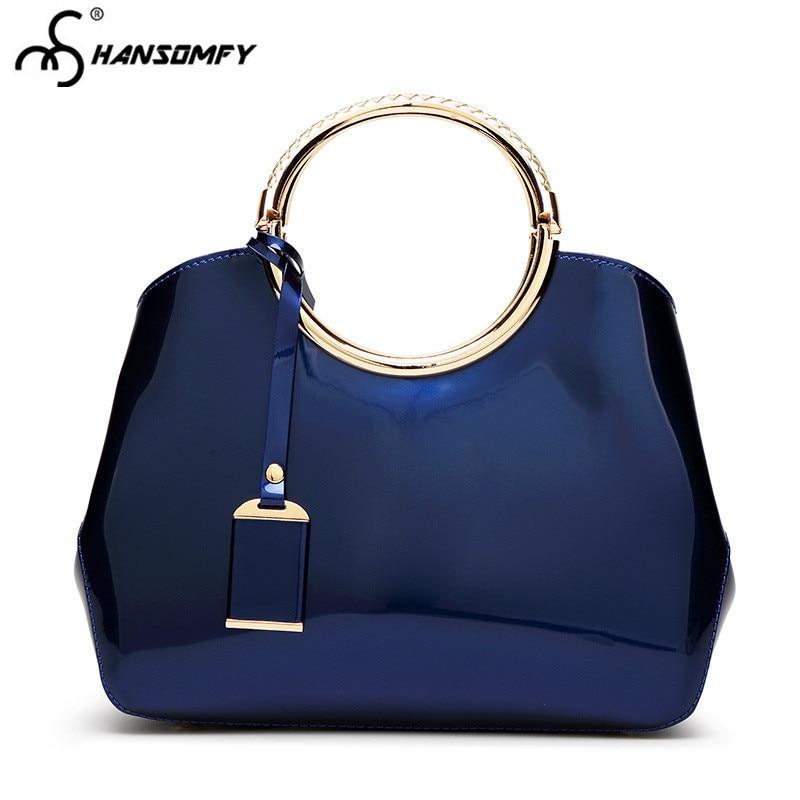 Новинка 2020, роскошные модные женские сумки, эмалированные сумки, лакированные металлические яркие кожаные женские сумки с верхними ручками