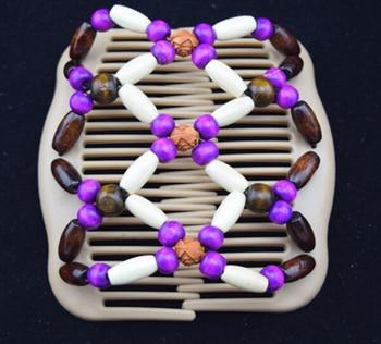 40pcs/lot  fashion wooden beadeds purple double magic comb hair clip free shipping