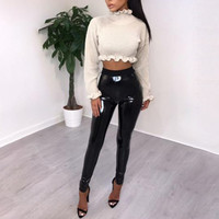 Abbille New Leather Disco Pants Sexy Women Ladies Black Vinyl PVC WetLook Shiny Elasticated High Waist Skinny Leggings Pant 2018