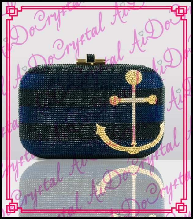 Aidocrystal pure handmade shoulder chain bow pattern blue clutch bag for lady