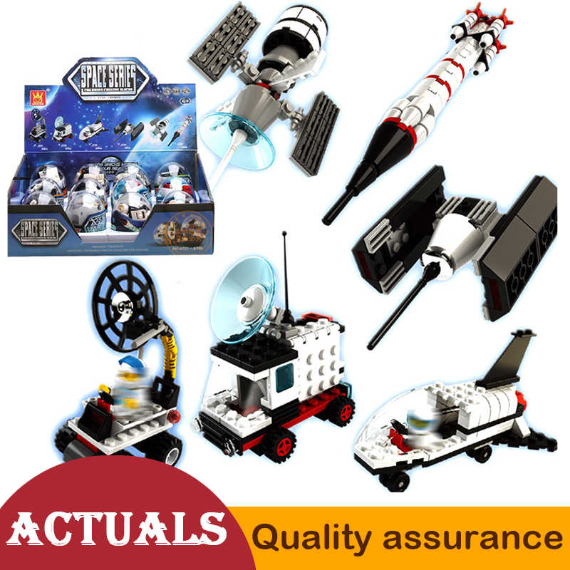 6 Style Wange Space Egg Series Rocket Satellite Lunar Rover Car Building Blocks Model Bricks Education Compatible legoed Toys
