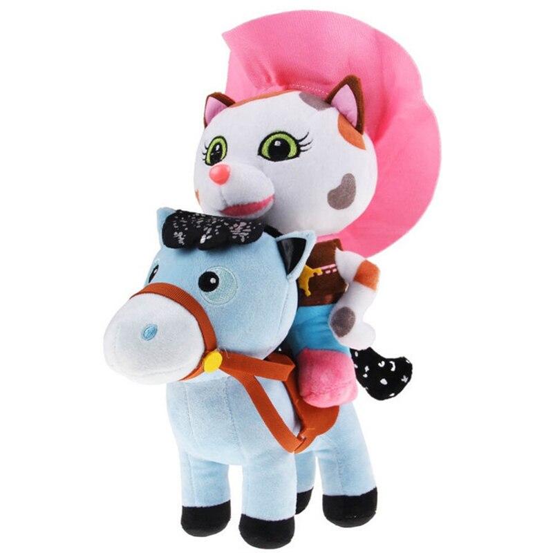 2pcs/lot Sheriff Callie's Wild West 25cm Cowboy Callie Cat 20cm Pony Horse Plush Toys Doll Stuffed Animals Toys For Kids Gift