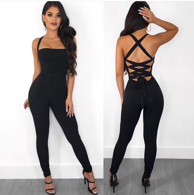 Ladies Sexy Hollow Out Lacing Thick Rayon Bandage Jumpsuit 2018 Bodycon  Slim Fashion Party Jumpsuit for Women ce917c1c3666