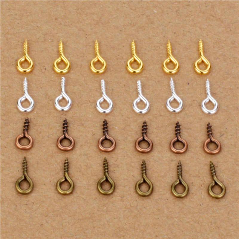 200 Ps/lot 4X9 Mm Mini Pin Mata Eyepins Kait Lubang Sekrup Berulir Logam Perhiasan Liontin Gesper untuk DIY membuat Perhiasan