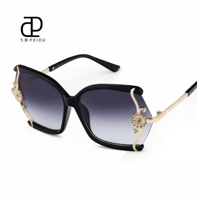 FEIDU De Luxe de Haute Qualité lunettes de Soleil Femmes Marque Designer  Avec la Boîte Conception 1f02cf172c22