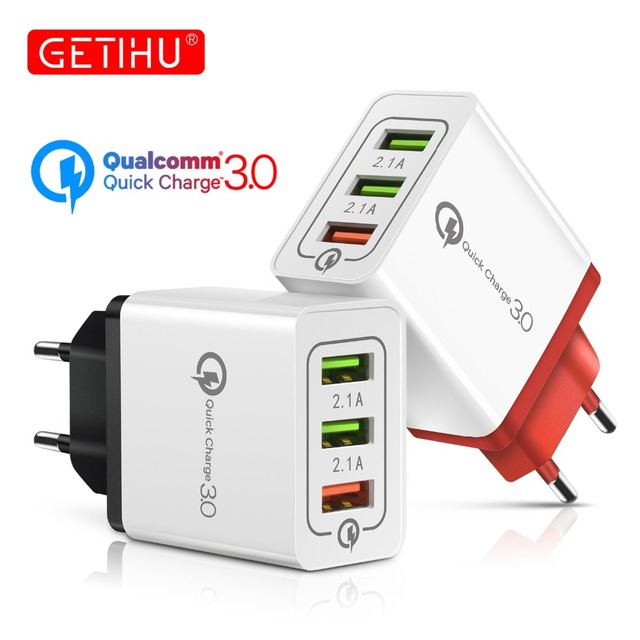 GETIHU 18W Quick Charge 3.0 2.1A Multi USB Charger Fast EU Plug Wall Adapter QC 3.0 Mobile Phone Charging For iPhone X 7 Samsung