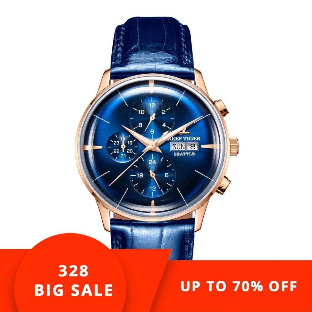 2018 Récif Tigre/RT De Luxe Marque Fonction Hommes montre résistante à l'eau Bleu Bracelet En Cuir montres automatiques Relogio Masculino RGA1699