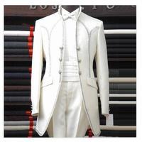תלבושות איש עישון Homme חליפות טוקסידו חתונת גברים שושבין החתן עניבת פרפר שלושה כפתור דש צעיף יפה (מעיל + מכנסיים + מחוך)