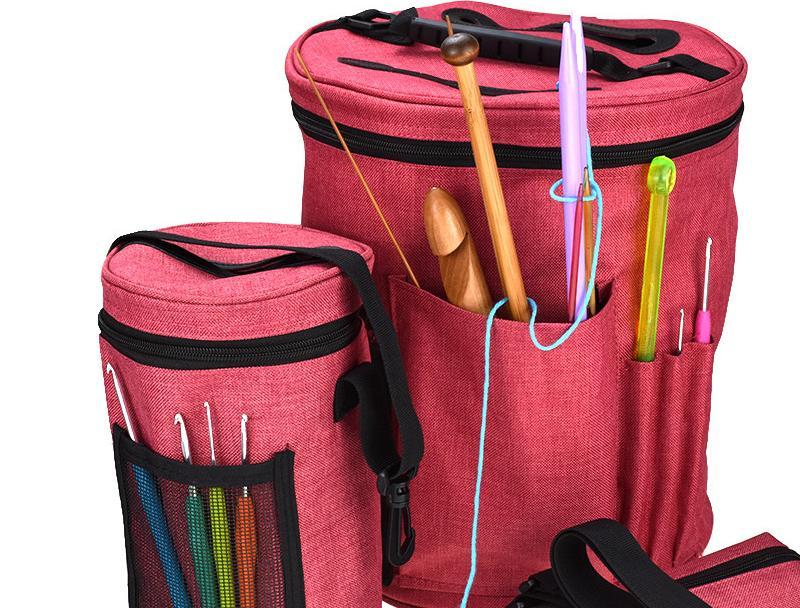 Bricolage artisanat stockage couture stockage sac à tricoter fil fourre-tout organisateur sacs de rangement Portable, léger et facile à transporter crochet