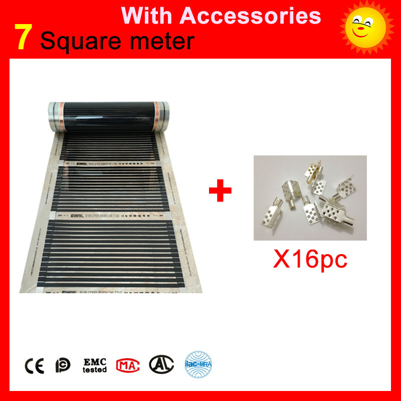 7 Square meters floor Heating film, 110W per meter infrared heating panel 50cm x 14m with 16 pieces of clamps for heated floor 10 50 meters pack 1m per piece led aluminum profile slim 1m with milky diffuse or clear cover for led strips