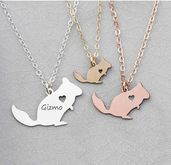 2018 New Design Squirrel Charm Chinchilla Necklace Copper Animal Jewelry Custom Any Words Drop Shipping Accepted YP6351
