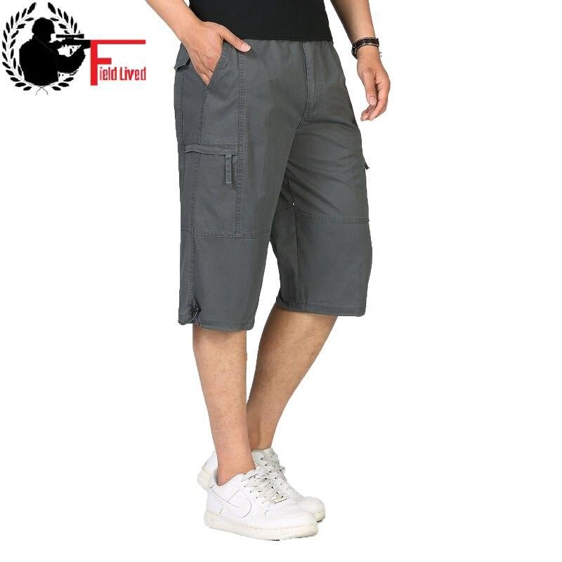 Plus-Size Men Short Multi-Pocket Cargo-Bermuda Knee-Length Male Summer Casual 4XL Hot
