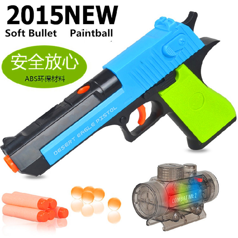 Desert Eagle Toy Pistol Shooting Soft Bullet Water Absorbent Paintball Bullet Toy Gun Nerf Style CS Game Shooting Blaster dial vision adjustable lens eyeglasses