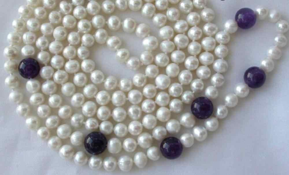 "Necklace   stunning long 50"" 7mm round white freshwater pearl   necklace"