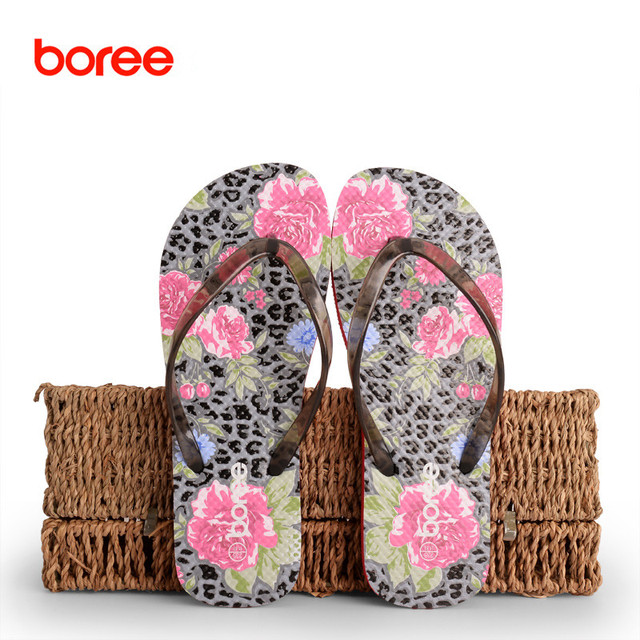 b5da26dd4e Boree New Summer Beach Women's Fashion Flip Flops Casual Sandal Shoes Solid  Leisure Flat Slippers Priting Style 3 Colors SDL006-in Flip Flops from ...