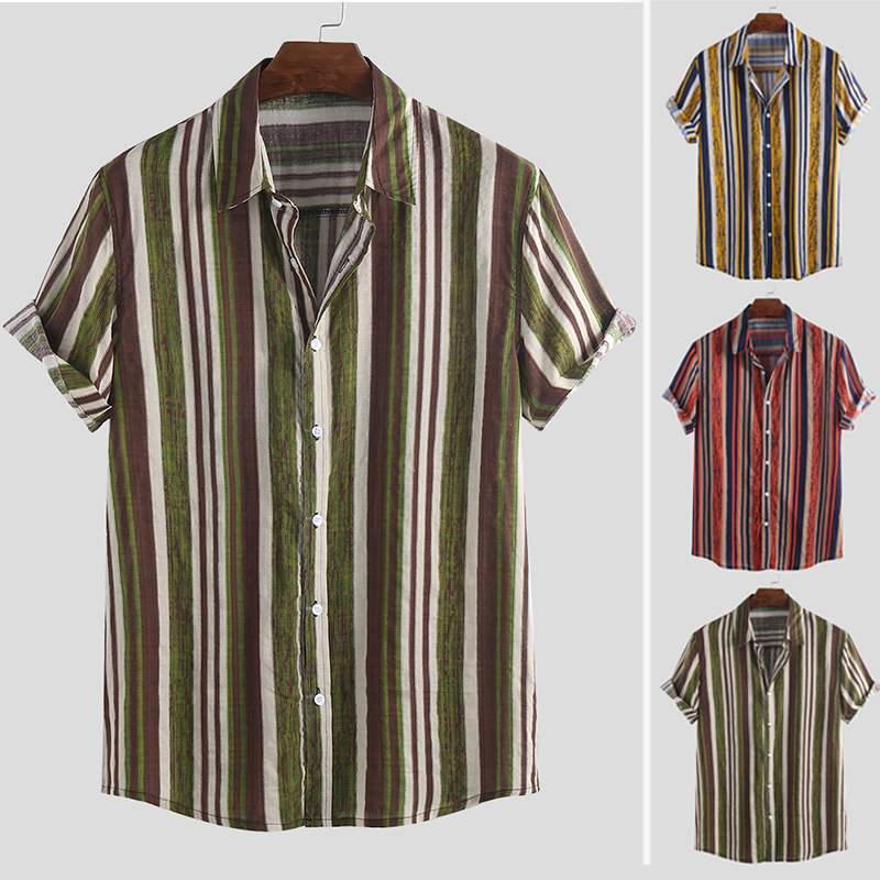 Summer Striped Men Brand Shirt Retro Camisa Masculina Vacation Lapel Neck Short Sleeve Breathable Hawaiian Beach Shirts Men 2019