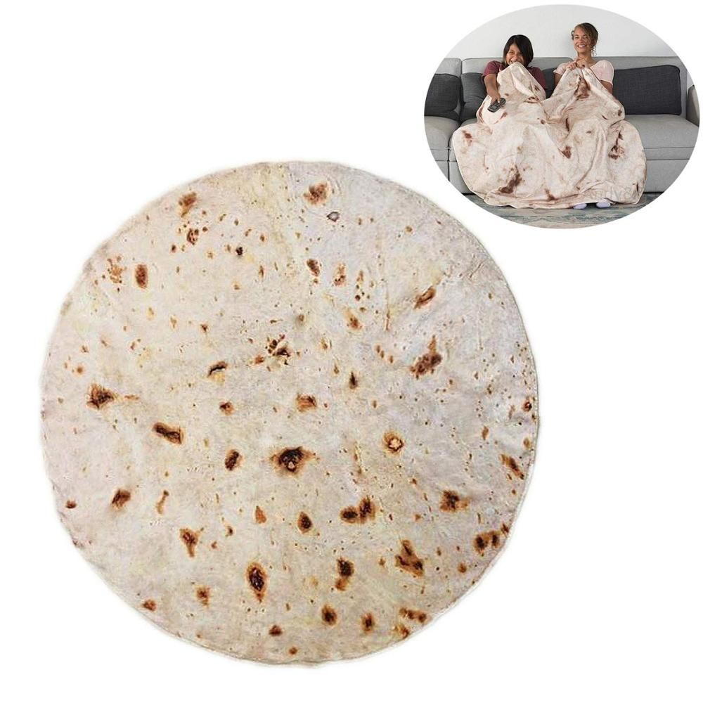 Comfort Food Creations Burrito Wrap Novelty Blanket Perfectly Round Tortilla Home Decoration Wearable Mat Warm Soft Shawl 19Apr9