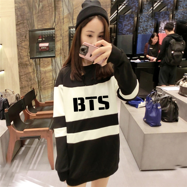 326fb790062 Aliexpress.com   Buy BTS 2019 Women Boys T Bangtan Felpe Donna Black And  White Autumn Harajuku Long Tops Women Hoody Sweatshirt BTS from Reliable  sweatshirt ...