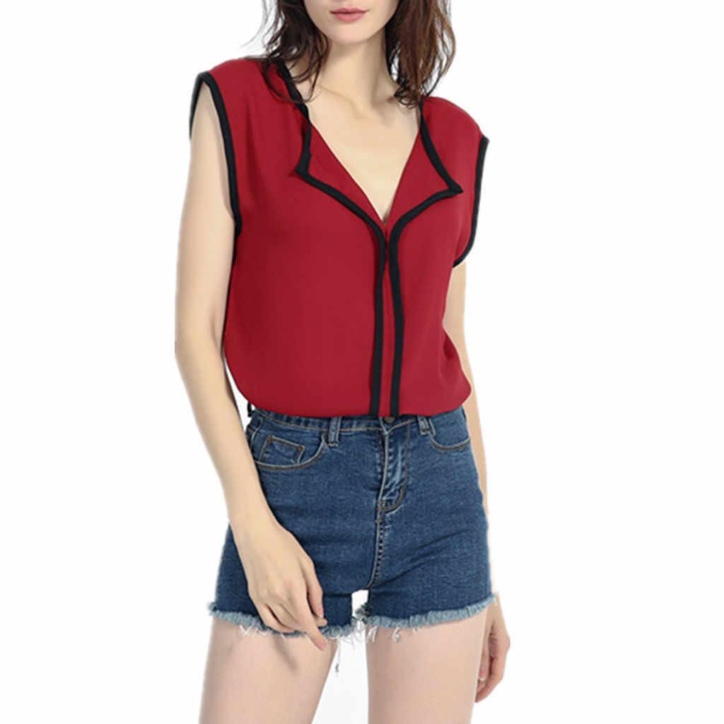 נשים של שרוולים V-צוואר מקרית מוצק טרי מתוק שיפון חולצה חולצה