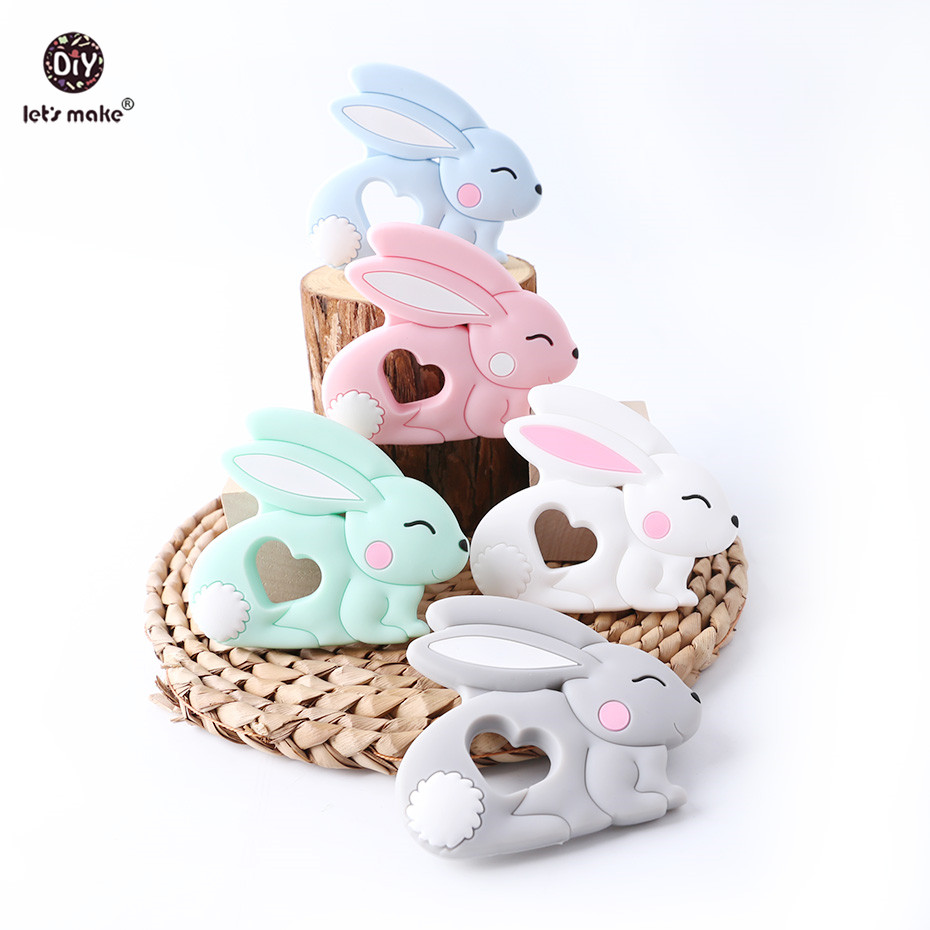 Let's Make Baby Teether Pet Rodent 1PC 4-6 Months Rabbit Animal Bunny BPA Free DIY Pacifier Chain Silicone Teether Teething Toys