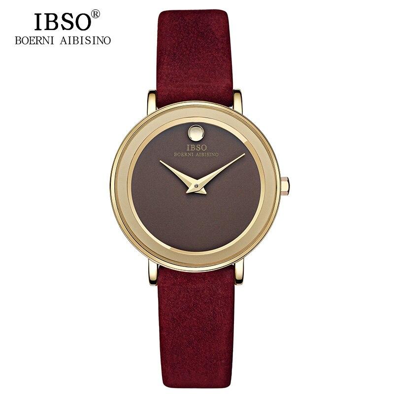 IBSO Brand 6MM Ultra-Thin Women Watches 2017 Luxury Genuine Leather Strap Fashion Quartz Watch Women Wristwatches Montre Femme