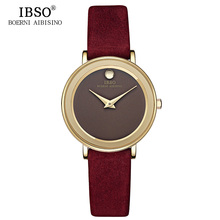 IBSO Brand 6MM Ultra-Thin Women Watches 2017 Luxury Genuine Leather Strap Fashion Quartz Watch Women Wristwatches Montre Femme