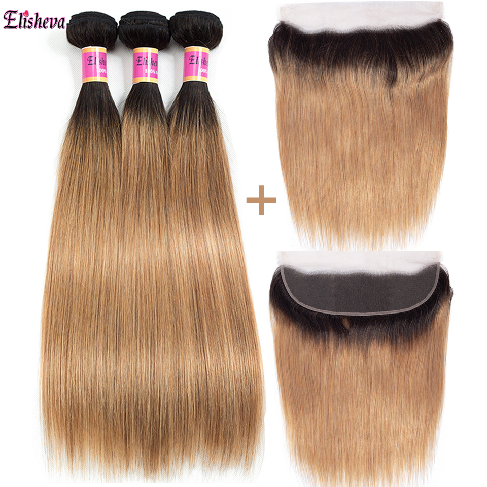 Elisheva Ombre Bundles With Frontal 1b 27 Remy Peruvian Ombre Straight Hair 3 Blonde weave Bundles