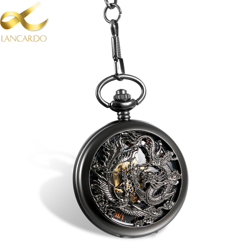 Lancardo Steampunk Mechanical Pocket Watches Men Black Dragon/Phoenix Hollow Retro Necklace Pocket Watch With Chain For Men