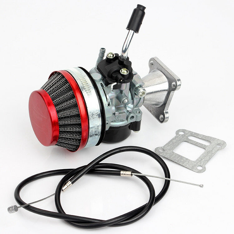 Карбюратор Carb Carby + стальной 60 мм воздушный фильтр + 2-тактный 43 47cc49cc Мини Мотор карманный велосипед ATV Quad Мини