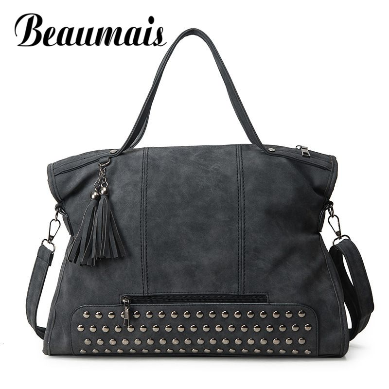 Beaumais 2017 Brand New Shoulder Bags Women Fashion Rivet Nubuck Leather Handbags Soft Vintage Messenger Bag Female DF0036