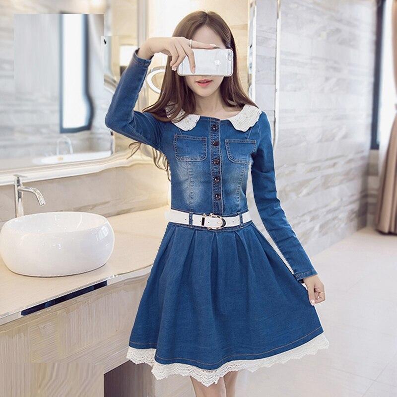 2019 nové módní dámské krajkové šaty s denimem s páskem vyšívané velkoformátové šaty s dlouhým rukávem 2XL šaty