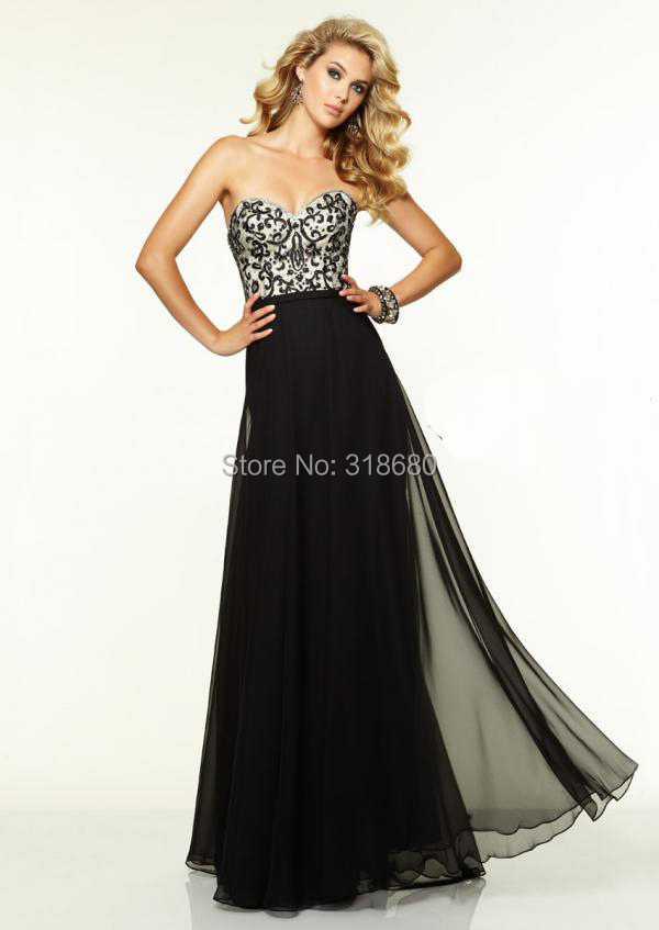 Flowy Black Prom Dress