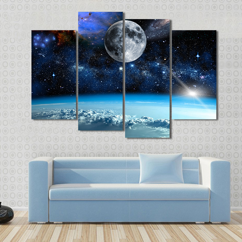 Buy 4 pcs set large abstract space view for Buy large canvas prints