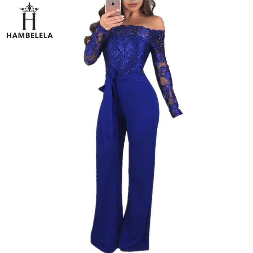 HAMBELELA NEW Sexy Bandage Jumpsuit Bodycon Striped Printed Blue Rompers Womens Jumpsuits Mamelucos Largos De Mujer Para El Vera