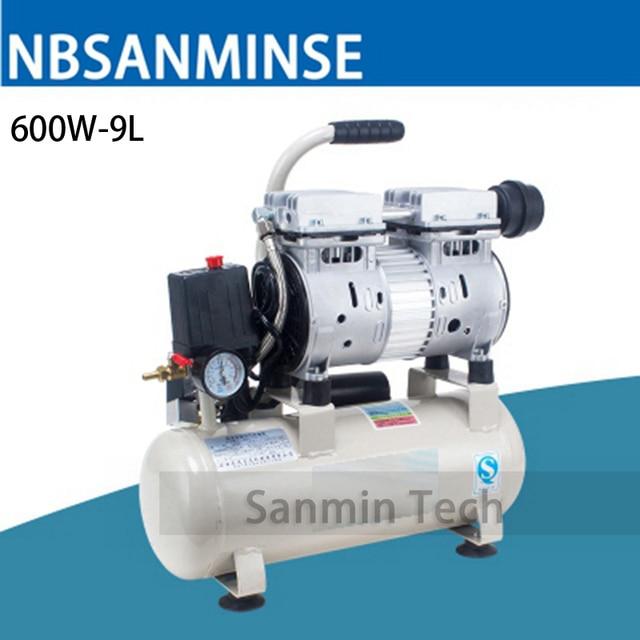 600W - 9L Mini Air Compressor Oilless High Pressure Mute Design Wood Working Home Application AC220V High Quality Sanmin