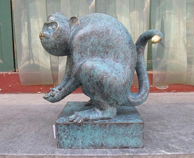 Bronze pur cuivre Art sculpter de bon augure douze zodiaque singe décor Sculpture