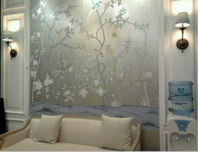 Hand Painted Silver Foil Wall Paper Painting Flowers With