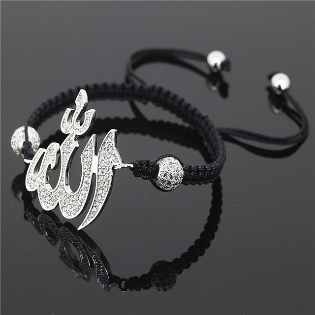 1PCAnil Arjandas Fashion Men Black Bracelet,Paveed Crystal Rhinestone Beads Silver Allah Connector Braiding Men Macrame Bracelet