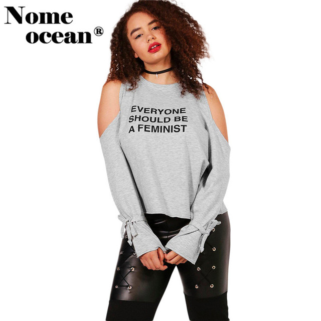 2202a425ffc74 Plus Size Cold Shoulder Sweatshirts of Girls 2017 Autumn Cut Out Letter  Print US14-22 Lace-up Cuffs Long Sleeve Tops M17091606