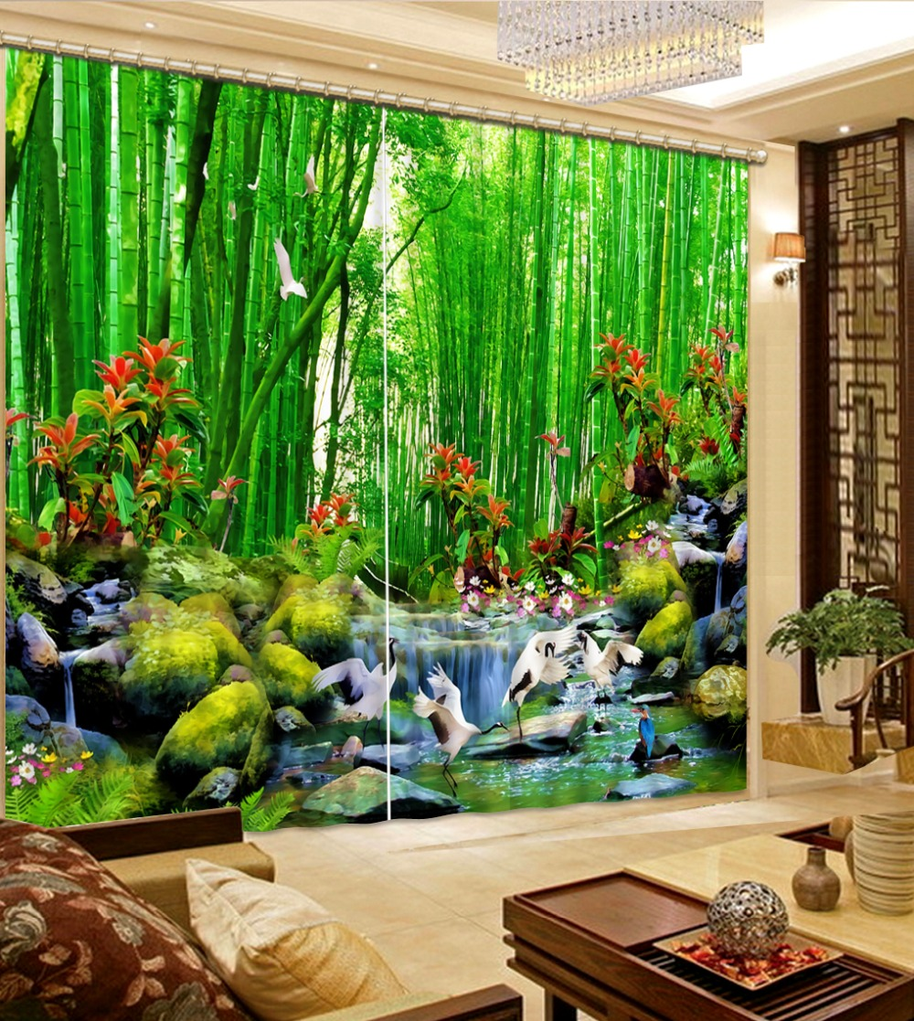 green bamboo curtains photo Blackout Window Drapes Luxury 3D Curtains For Living room Bed room Office Hotel Home