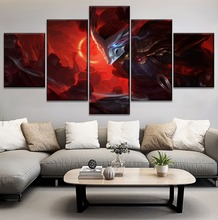 цена 5 Panel Game Poster Canvas Art HD Printed Type Modern Home Wall Decorative Yasuo League Of Legends Modular Style Picture онлайн в 2017 году