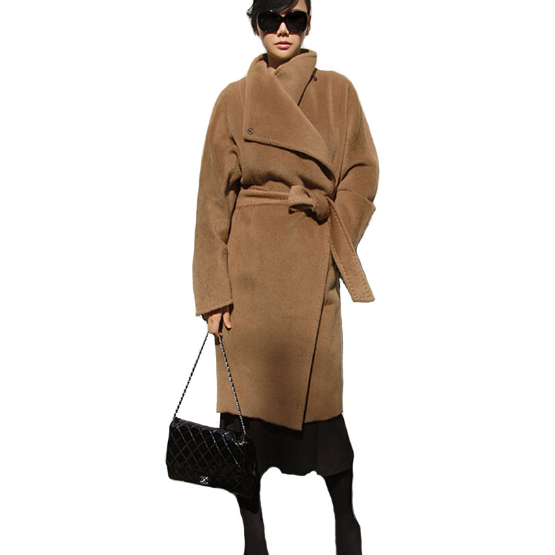 une performance supérieure divers styles vente chaude authentique US $48.5 50% OFF|Women Khaki Trench Coats Woolen Oversize Long Overcoat  Female Brown Belt Overcoat Robe Style Outerwear Casacos femininos S XL-in  ...