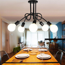 Iron Surface Mounted Ceiling Lighting American Style 5 Heads Ceiling Lights Bedroom Living Room Ceiling Lamp For Clothing Store