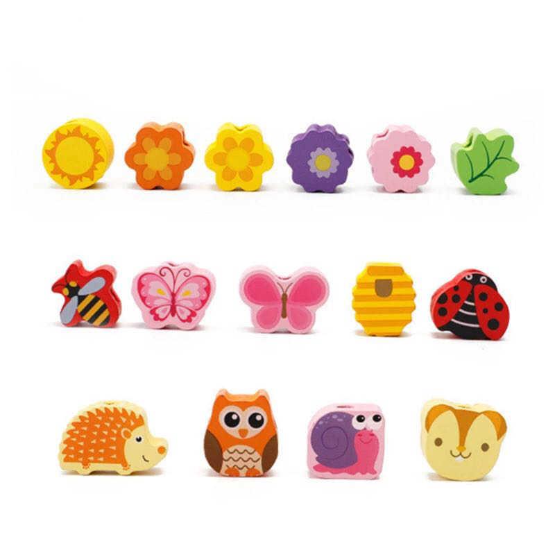 102 шт Дерево фруктовые бусины материалы montessori Детские деревянные игрушки DIY игрушка Монтессори Oyuncak Развивающие игрушки для детей девочек gif