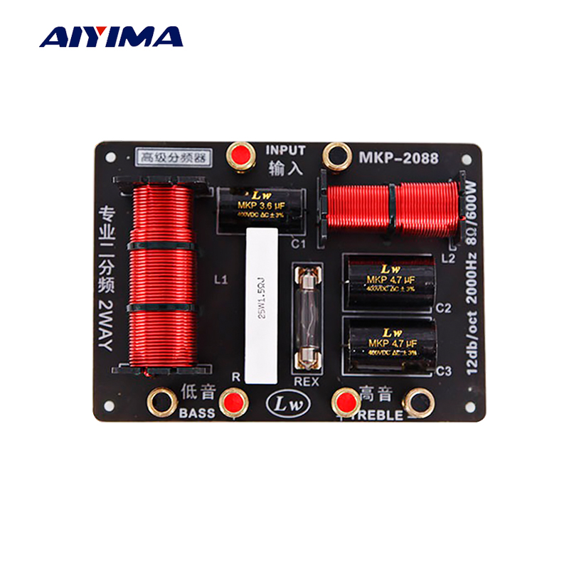 AIYIMA 1Pcs 600W Speaker 2 Way Audio Frequency Divider Treble Bass Professional Crossover Speakers Filter
