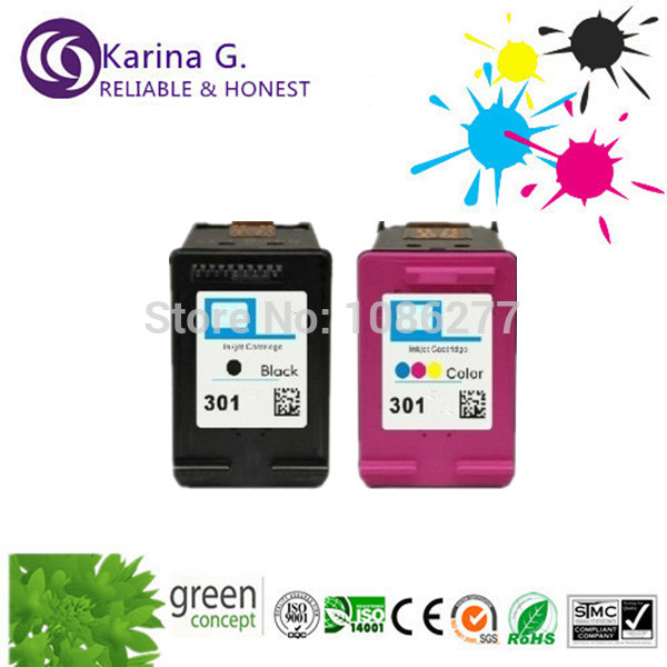 1 set BK+C full ink  refill ink cartridges with printhead   for HP 301,for HP DeskJet 1050,DeskJet 2050,DeskJet 2050s  CH561EE