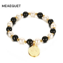 Classic Beads Hand Chain For Women Virgin Mary Bracelet Gold Color Female Jewelry(China)