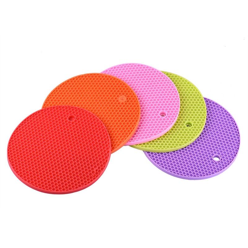 1pcs Colorful Round Heat Resistant Non Slip Silicone Mat