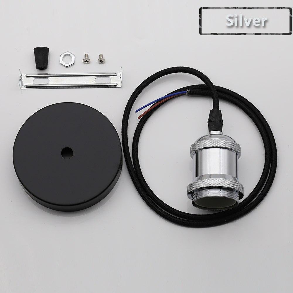Винтажные подвесные светильники E27 патрон лампы 110V 220V винт переключения установки e27 Цоколи лампы Ретро держатель лампы edison - Цвет: Silver
